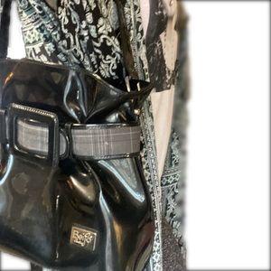 NWOT- Bejio Black Patent & Plaid Shoulder Bag